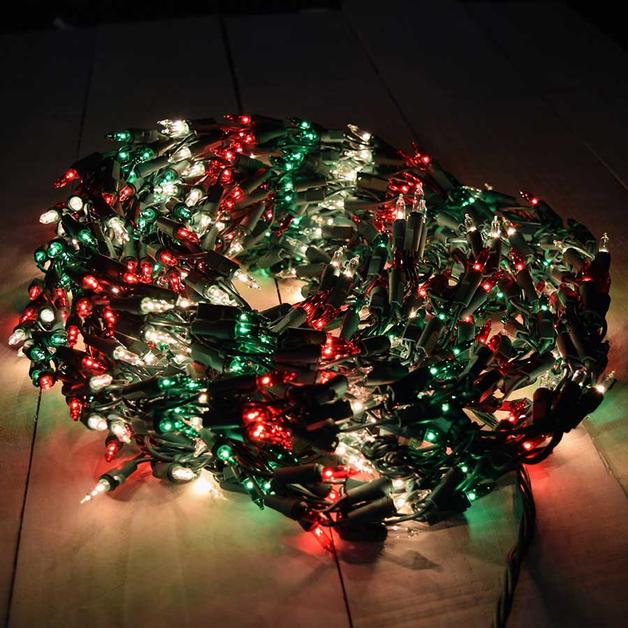 red white green garland christmas lights