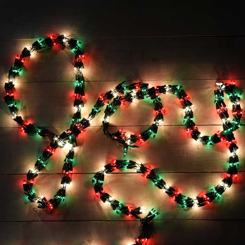 red green white christmas garland lights