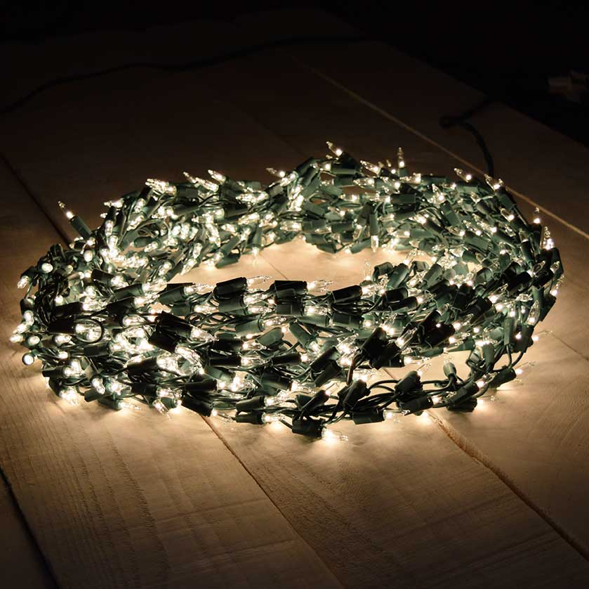600 clear light cluster garland string light set green wire. Black Bedroom Furniture Sets. Home Design Ideas
