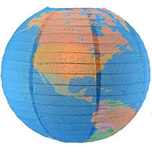 Geographical World Globe Paper Lantern - Multi-Color AIS-14WORLD-BW