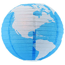 Geographical World Map Paper Lantern - Blue/White AIS-14WORLD