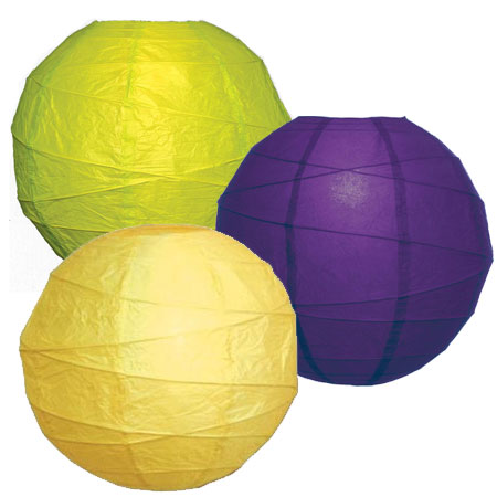 Mardi Gras Yellow, Green, Purple Paper Lantern Kit - 14