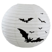 "Flying Bats Paper Shade Lantern - 16"" Dia. - White/Black"