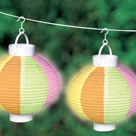 Garden Party Rice Paper Shade Battery Operated String Light Lanterns - 3 Pack
