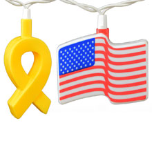 Yellow Ribbon & American Flags Party String Lights