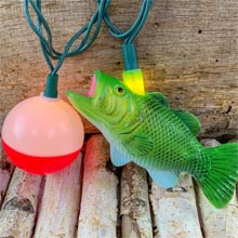 Bass & Fish Bobber Party String Lights - 8.5 ft. DE-70305