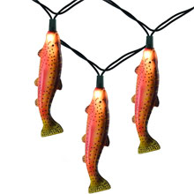 Rainbow Trout Fishing Party String Lights