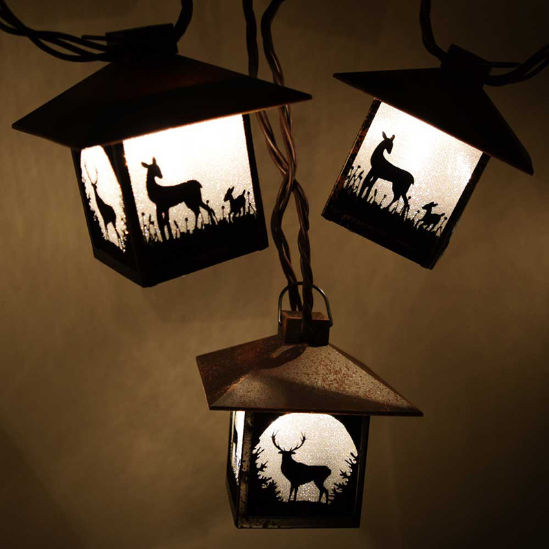 Wilderness Deer Silhouette Lantern String Lights