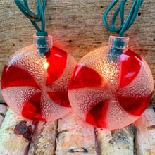 Red/White Spiral Candy Christmas String Lights