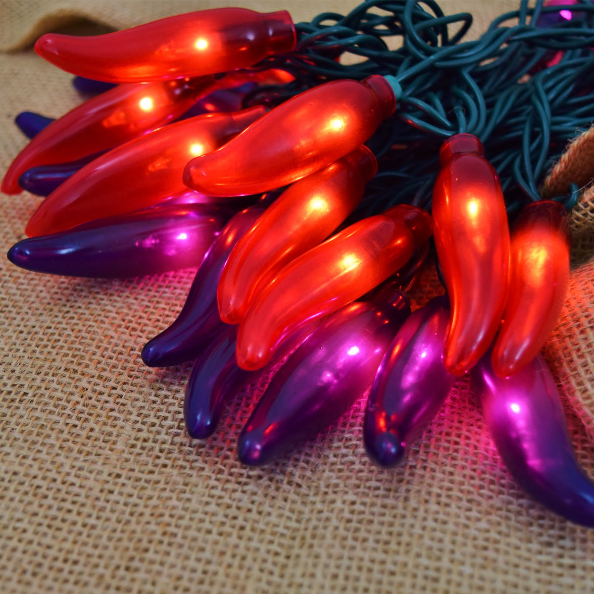 Red and Purple Chili pepper String Lights