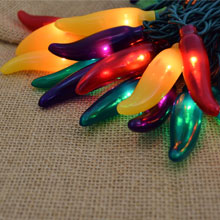 Red, Green, Yellow and Purple Chili Pepper Lights