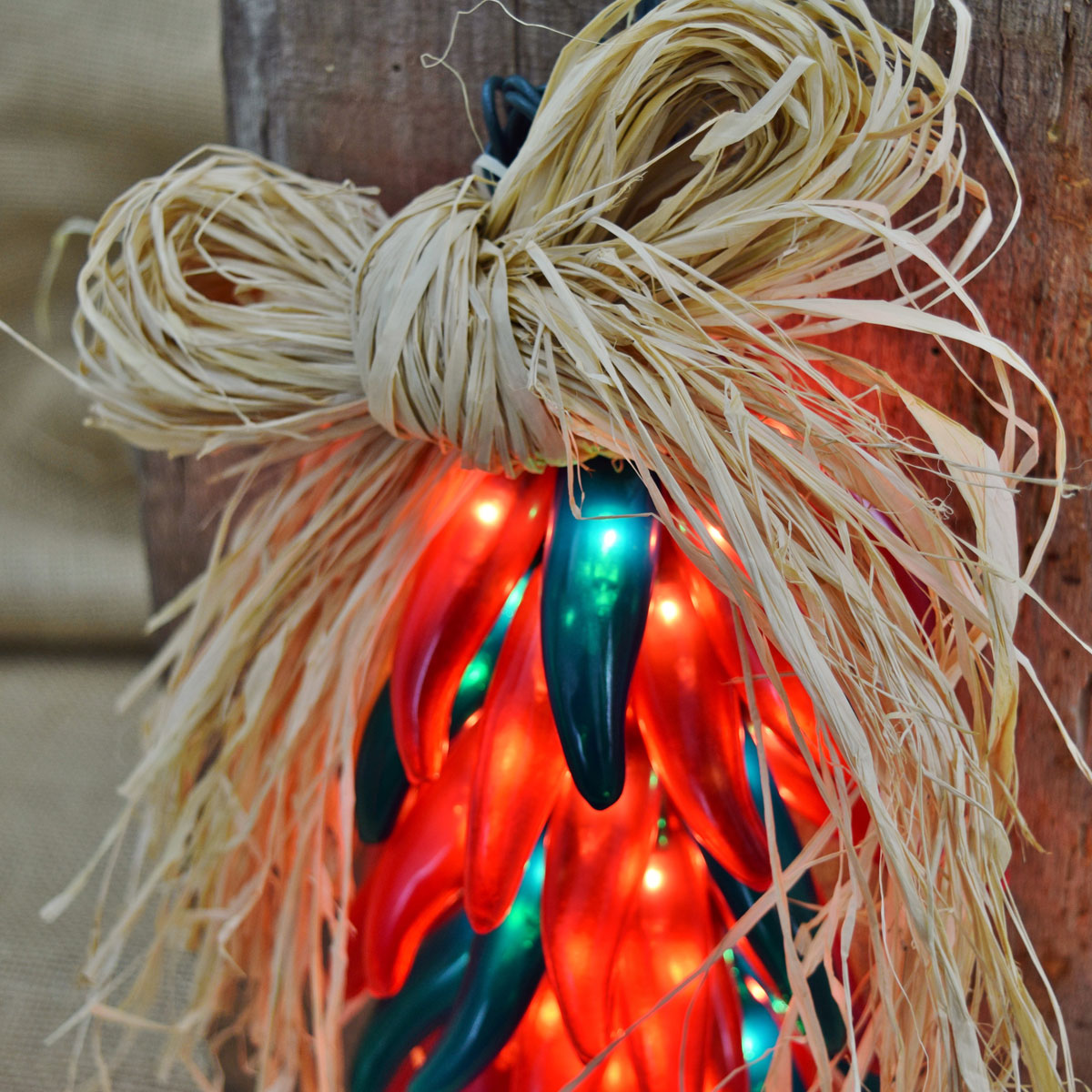 Red Green Chili Pepper Ristra Lights - 10 Lights