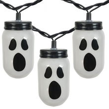 Mason Jar Ghost Party String Lights - 10 Lights