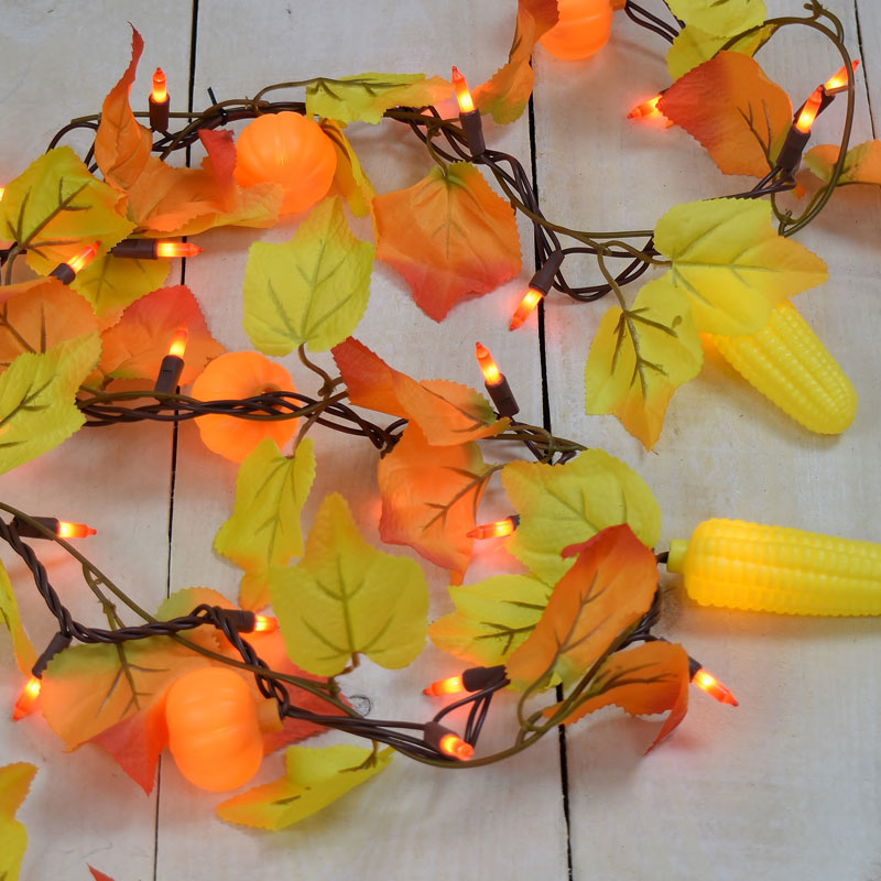 Maple Leaf Corn Pumpkin Party String Lights Garland Style