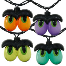 Multicolor Spooky Eyeball Party String Lights - 10 Lights