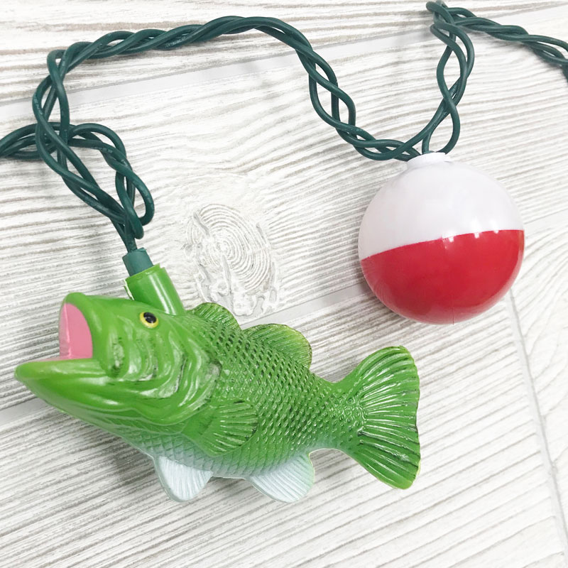 Bass Fish And Bobber Party String Lights