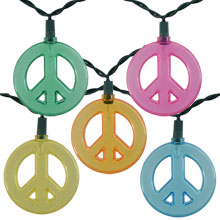 Multicolor Peace Sign Novelty Light Set