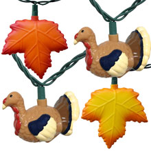 Thanksgiving Turkey & Fall Leaf Party String Lights - Jazzy Jake / Leaf Kit HB-1665-74