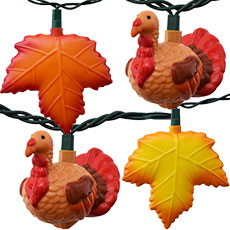 Thanksgiving Turkey & Autumn Leaves Party String Lights