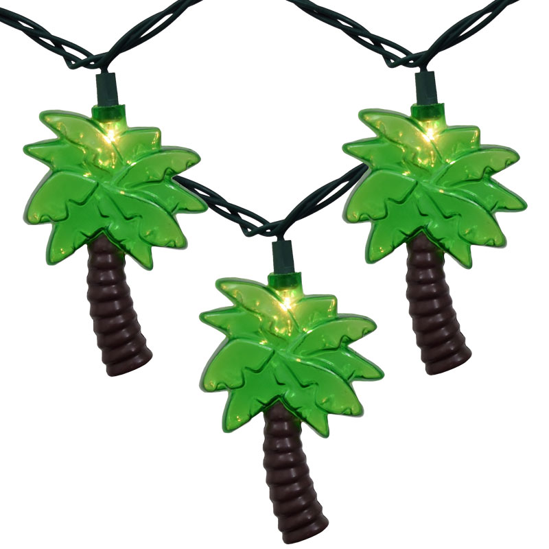 String Lights In Trees: Outdoor Tropical Palm Tree String Lights
