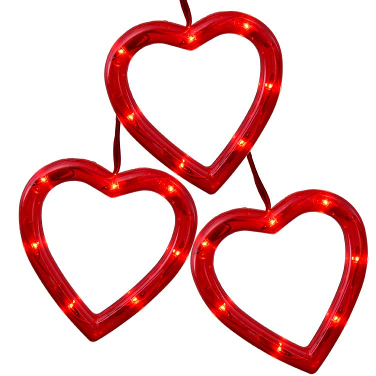 Heart Sculpture Party String Light Set Set Of 3 Hearts