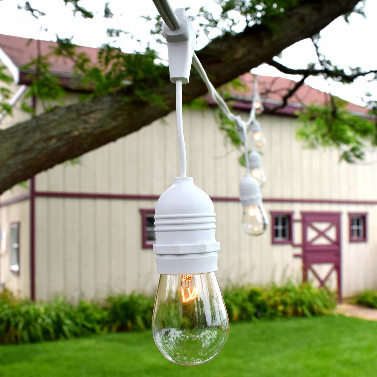 Outdoor patio string lights 54 white suspended 54 patio string lights s14 clear glass bulbs white suspended aloadofball Images