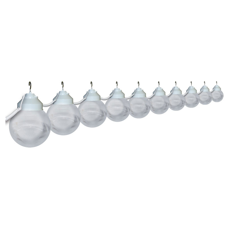 clear prismatic globe patio string lights