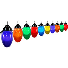 Multi-Color Holiday 10 Globe String Lights - Black Wire