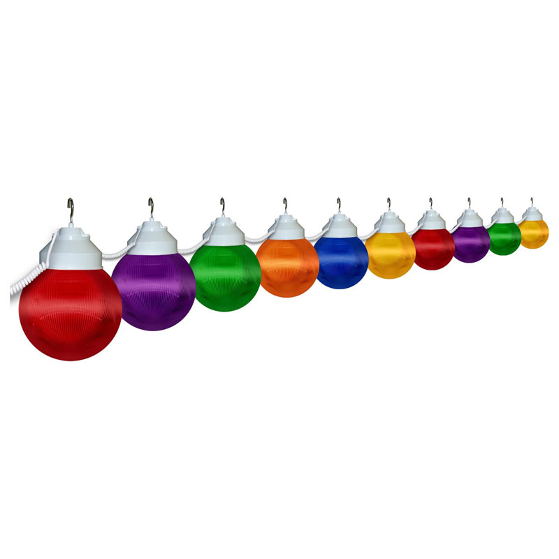 10 Globe Prismatic Multi-Color String Light Set