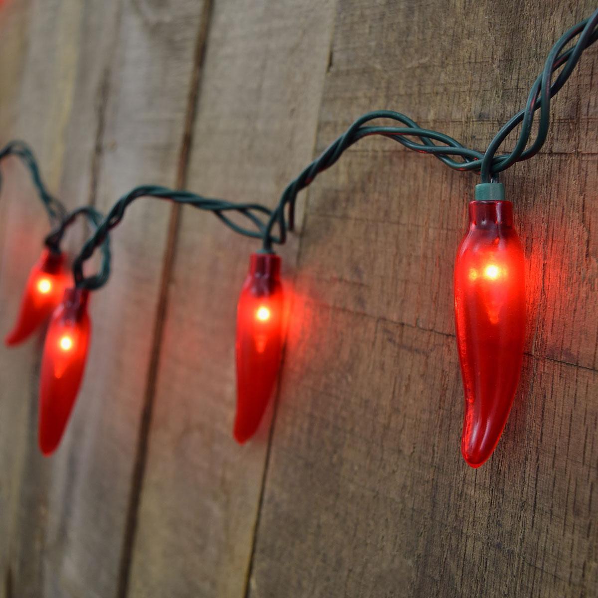 35 count red chili pepper string lights. Black Bedroom Furniture Sets. Home Design Ideas