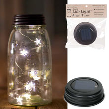 Solar Lid Light w/ Star Angel Tear Lights - Brown CTC-0310