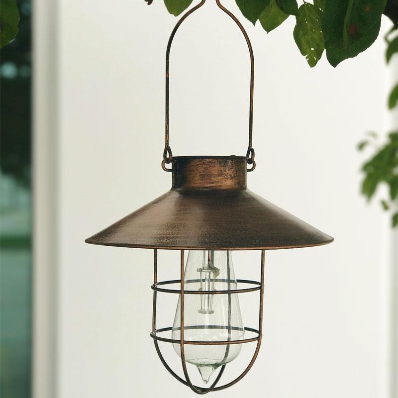 Copper Finish Hanging Solar Lantern   8.5