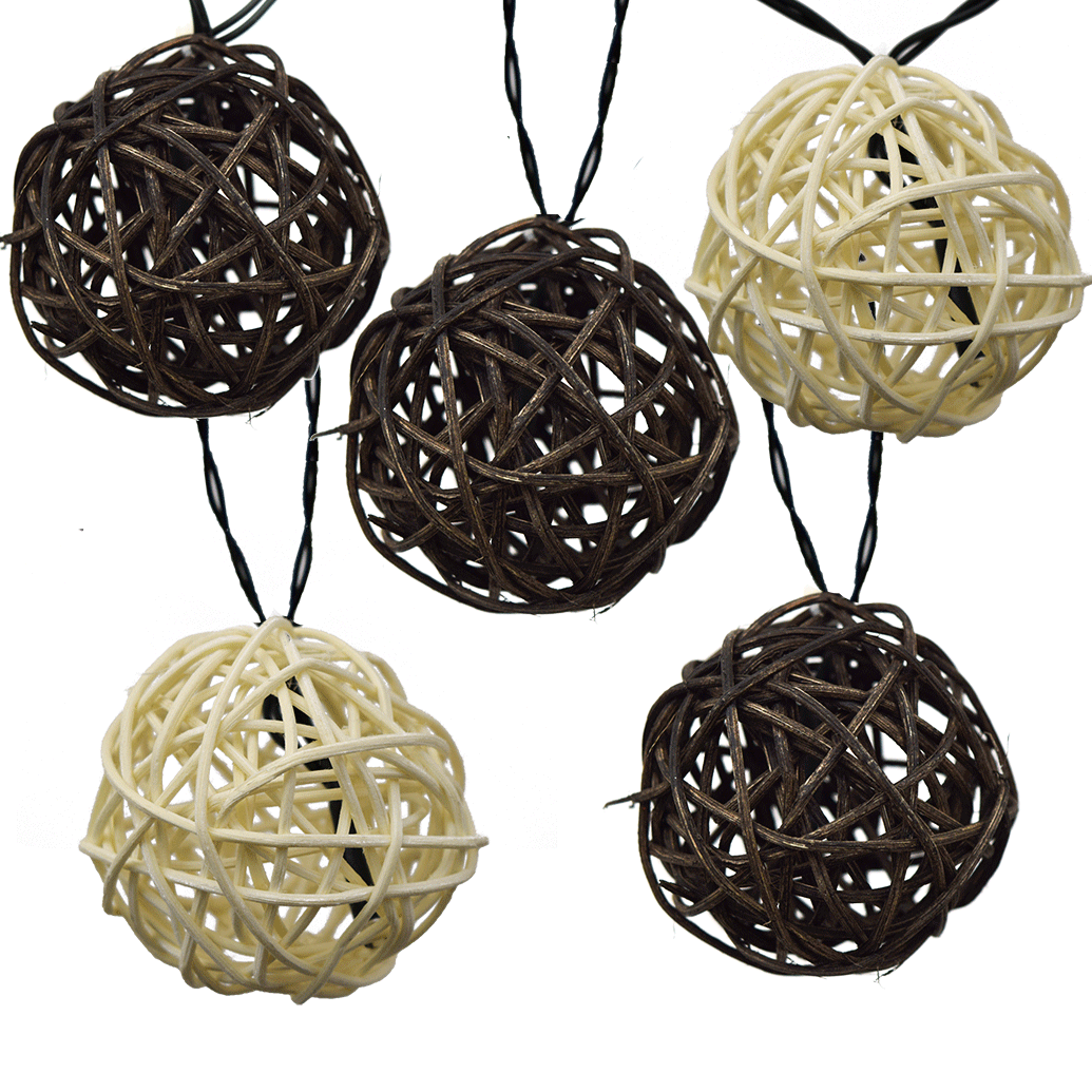 Led Solar Powered String Lights Rattan Balls