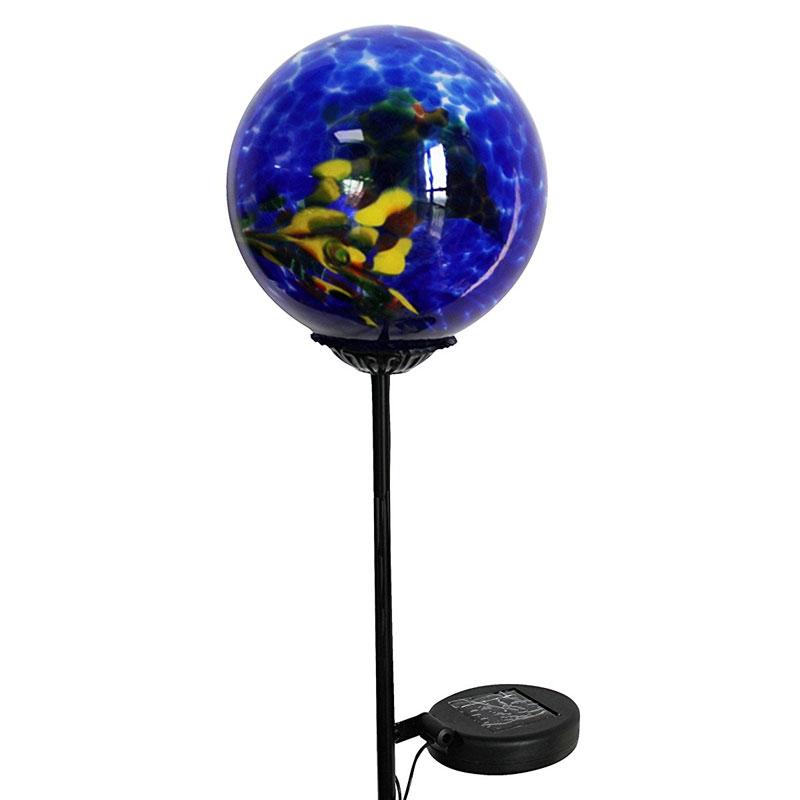 Moonrays Swirled Glass Gazing Ball Solar Stake Light